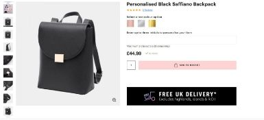 2 x NEW PACKAGED Beauti Saffiano Backpack - Black. RRP £49.99 each. Note: Item is not personalised.