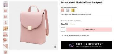 2 x NEW PACKAGED Beauti Saffiano Backpack - Blush. RRP £49.99 each. Note: Item is not personalised.