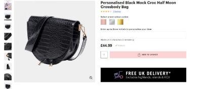 3 x NEW PACKAGED Beauti Mock Crock Half Moon Crossbody Black. RRP £44.99 each. Note: Item is not