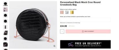 10 x NEW BOXED Beauti Mock Croc Round Crossbody Luxury Bag -Black. RRP £34.99 each. NOTE: ITEM IS