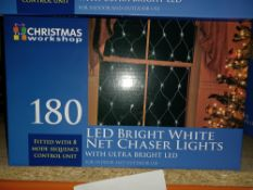 NEW BOXED 4 X LED BRIGHT NET CHASER LIGHTS FITTED WITH 8 MODE SEQUENCE CONTROL UNIT CAN BE USED