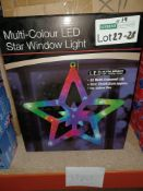 NEW BOXED 5 X MULTI COLOUR LED STAR WINDOW LIGHT (28x28x2cm) 20 LED LIGHTS - PCK