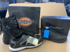 7 X BRAND NEW WOORK BOOTS IN VARIOUS STYLES AND SIZES INCLUDING DICKIES AND PRO MAN S1