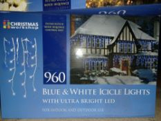 NEW BOXED 3 X BLUE & WHITE ICICLE LIGHTS WITH ULTRA BRIGHT LED 22.9M LIGHT LENGTH 8 COMBO LIGHT