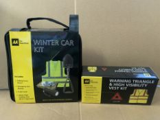 18 PIECE MIXED LOT INCLUDING 12 X WARNING TRIANGLE AND HIGH VIS VEST KITS AND 6 X WINTER CAR KITS
