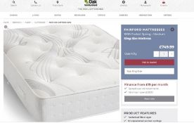Fairford Cotton 1000 King-size Mattress. RRP £749.99. Strong pocket springs No pressure points.