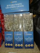 NEW BOXED 11 X WARM WHITE LED STRING LIGHTS LEAD WIRE 40CM APPROX, REQUIRES 2x AA BATTERIES (NOT