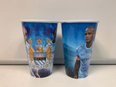 APPROX 500 X BRAND NEW MANCHESTER CITY PLASTIC REUSABLE CUPS PCK