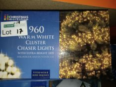 NEW BOXED 3 X WARM WHITE CLUSTER CHASER LIGHTS WITH ULTRA BRIGHT LED 13.9M LIGHT LENGTH 8 COMBO