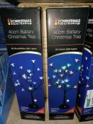 NEW BOXED 4 X BATTERY CHRISTMAS TREE 40CM TALL WITH 24 COLOUR LED LIGHTS (REQUIRES 3xAA BATTERIES