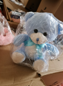 20 X BRAND NEW BLUE SOFT TOY TEDDY BEARS WITH BOW RRP £12 EACH S1