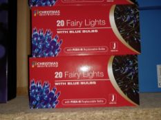 NEW BOXED 8 X BLUE BULB FAIRY LIGHTS OVERALL LENGTH 4.5M (WITH PUSH IN REPLACEABLE BULBS) - PCK