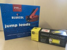 3 X BRAND NEW 250AMP JUMP LEADS AND 4 FOOT PUMPS S1