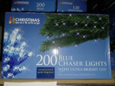 NEW BOXED 7 X BLUE CHASER LIGHTS WITH ULTRA BRIGHT LED FITTED WITH A 8 MODE SEQUENCE LIGHT LENGTH