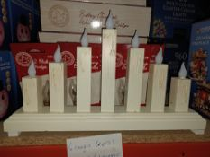 NEW BOXED 3 X WARM WHITE LED WOODEN CANDLE BRIDGE APPROX 36.5x5.8x21.5cm 7 LEDS, COMES WITH 15