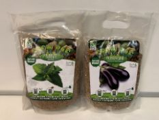60 X NEW PACKAGED ROOTS & SHOOTS GROW BAGS IN ASSORTED TYPES. JUST ADD WATER! RRP £5.99 EACH. (