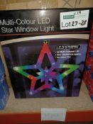 NEW BOXED 6 X MULTI COLOUR LED STAR WINDOW LIGHT (28x28x2cm) 20 LED LIGHTS - PCK