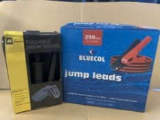 13 PIECE MIXED LOT INCLUDING 7 X BLUECOL JUMP LEADS AND 6 X FOLDING SNOW SHOVELS S1