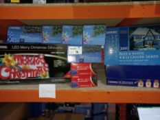 NEW BOXED 18 PIECE MIXED LOT OF CHRISTMAS LIGHTS INLCUDING BLUE&WHITE ICICLE CHASER LIGHTS, LED