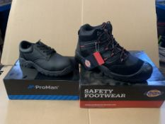 6 X BRAND NEW WOORK BOOTS IN VARIOUS STYLES AND SIZES INCLUDING DICKIES AND PRO MAN S1