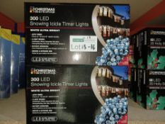 NEW BOXED 5 X LED SNOWING ICICLE TIMER LIGHTS WHITE ULTRA BRIGHT LED, AUTO TIMER, 8 LIGHT MODES-