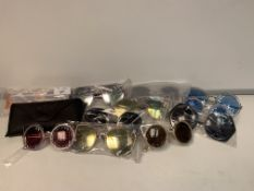 PALLET TO CONTAIN 400 X NEW PACKAGED PAIRS OF SHADES SUN GLASSES WITH CASES IN ASSORTED DESIGNS (