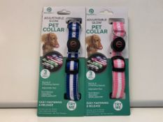 PALLET TO CONTAIN 180 X NEW PACKAGED POWERFULL ADJUSTABLE GLOW PET COLLARS. 3 LIGHT MODES. COLOURS