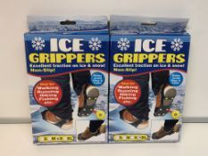 PALLET TO CONTAIN 240 X NEW BOXED PAIRS OF ICE GRIPPERS. NON-SLIP. METAL SPIKE. IDEAL FOR WALKING,