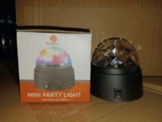 PALLET TO CONTAIN 240 X NEW BOXED POWERFULL MINI PARTY LIGHTS ( batteries may have leaked )