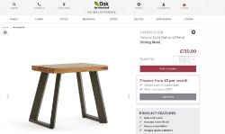 NEW BOXED Cantelever Natural Solid Oak & Metal Stool. RRP £130 EACH For a more open seating