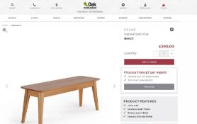 New Boxed - Oscar Natural Solid Oak Bench. 120cm Long. RRP £290. For a more open seating