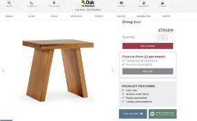 4 X NEW BOXED Natural Solid Oak Stool. RRP £130 EACH, TOTAL RRP £520. For a more open seating