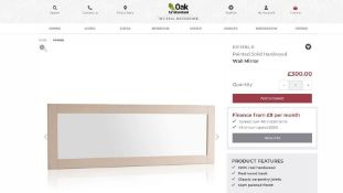 10 x NEW BOXED KEMBLE RUSTIC SOLID OAK & PAINTED WALL MIRROR. 1800x600MM. RRP £300 EACH, TOTAL