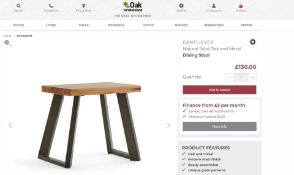 4 X NEW BOXED Cantelever Natural Solid Oak & Metal Stool. RRP £130 EACH, TOTAL RRP £520. For a