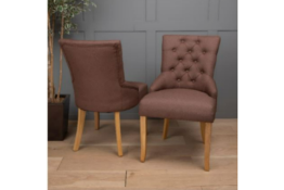 12 X BRAND NEW BOXED LUXURY CLASSIC ACCENT LINEN FABRIC DINING CHAIRS. BROWN. RRP £149.99 EACH