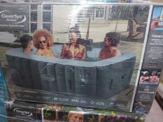 BOXED CLEVERSPA PERISSA 6 PERSON INFLATABLE HOT TUB WITH CLEVERLINK APP. UNCHECKED/UNTESTED.