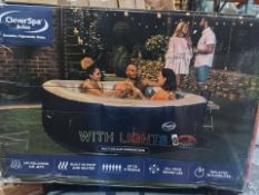 BOXED CLEVERSPA BELIZE 6 PERSON INFLATABLE HOT TUB WITH LIGHTS. RRP £652. UNCHECKED/UNTESTED