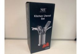 4 X NEW BOXED SCOTT & WHITE 11 PIECE KITCHEN UTENSIL SETS. RRP £59.99 EACH. STAINLESS STEEL,
