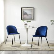 LeChamp Set of 2 Blue Velvet Dining Chairs with Glossy Metal Legs Accent Vintage Armchairs Lounge