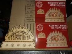 NEW BOXED 8 X WARM WHITE WOODEN LED FESTIVE SCENE BATTERY OPERATED (2xAA NOT INCLUDED) APPROX
