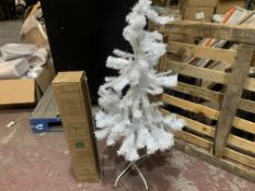 3 X NEW BOXED VEYLIN 4 FOOT SUPERIOR CHRISTMAS TREES WITH METAL STAND. WHITE. (ROW3)