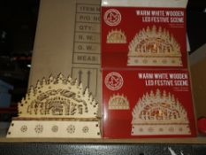 NEW BOXED 9 X WARM WHITE WOODEN LED FESTIVE SCENE BATTERY OPERATED (2xAA NOT INCLUDED) APPROX