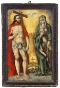 Spanish school of the 16th century. Jesus and the Virgin with the Holy Spirit.