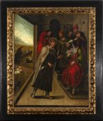 Spanish school of the 16th century. Saint Francis before the Sultan of Egypt Malec-el-Kamal.