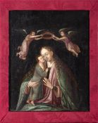 Flemish school, 16th century. Virgin with Child crowned by angels.