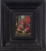 Flemish school, 16th century. Follower of Joos Van Cleve. Saint Jerome in his study.
