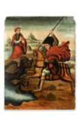Catalan school, 15-16th century. Saint George slaying the dragon