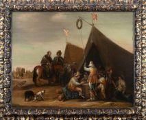 Flemish school, 17th century. Follower of Philips Wouwerman. Military camp.