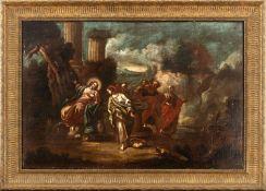 Italian school, 17th century. Jesus and the Samaritan woman.