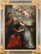 Flemish school,17th century. Follower of Rubens. The education of the Virgin.